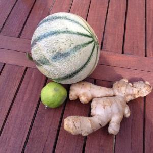 soupe de billes de melon au gingembre