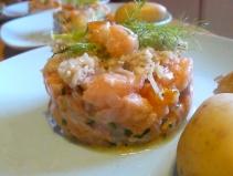 tartare de saumon aux clémentines confites