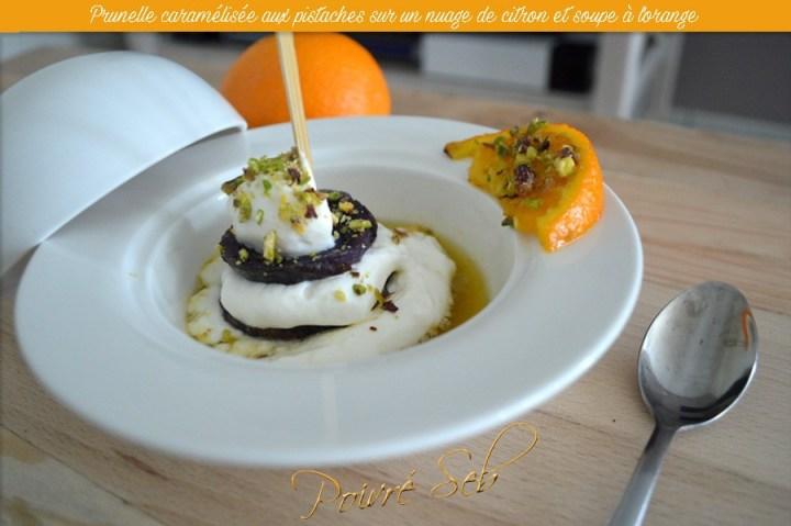 Prunelle-caramélisée-aux-pistaches-sur-un-nuage-de-citron-et-soupe-à-lorange