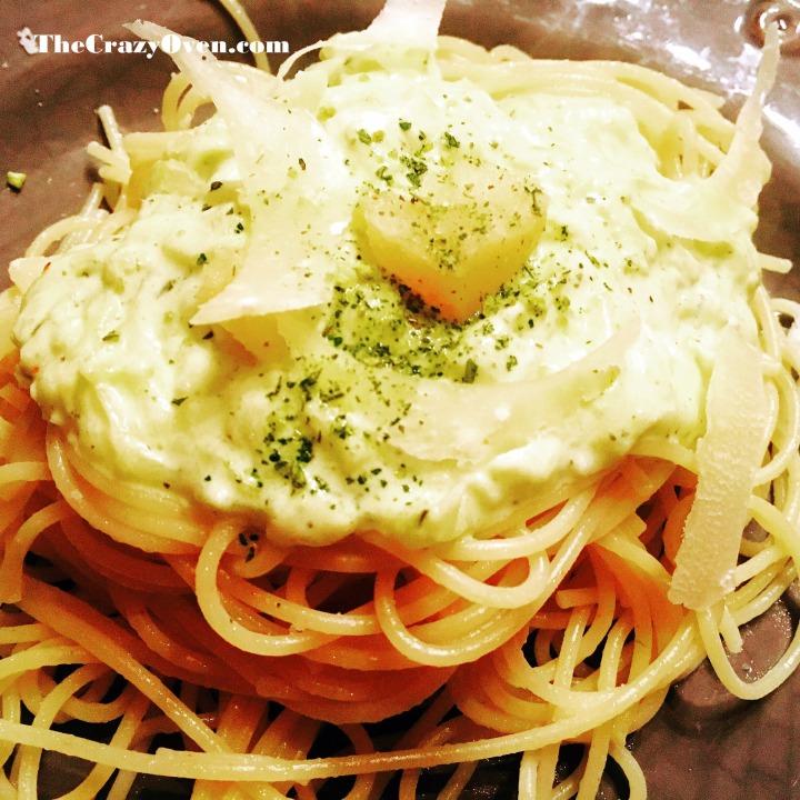 spaghettis à la crème de courgette.JPG