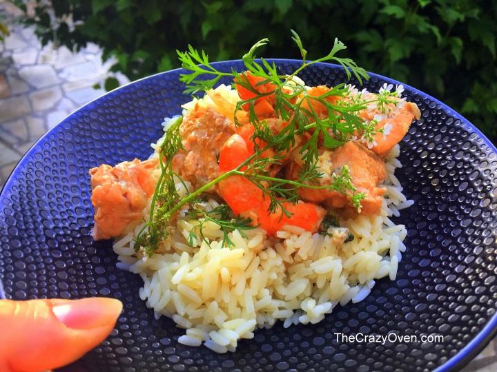 saumon et crevettes à la fleur de coriandre
