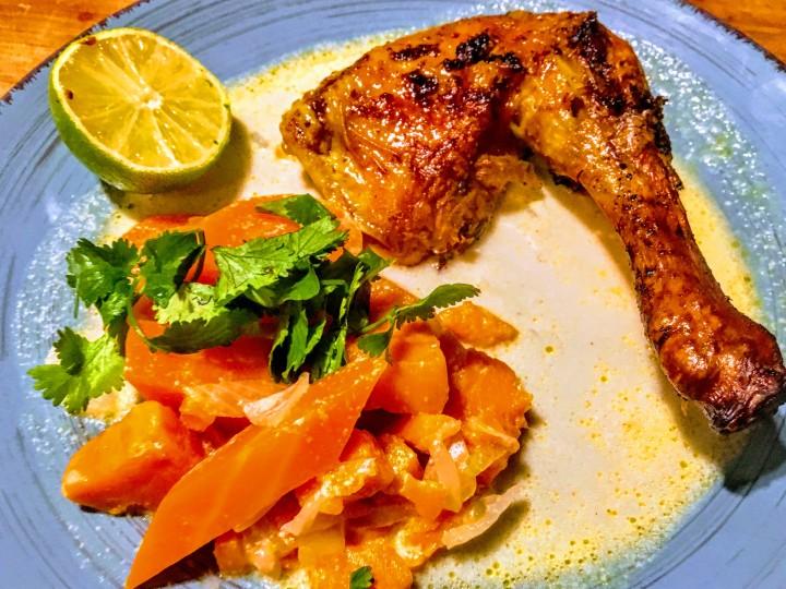 Poulet rôti à la mode colombo et ses légumes au lait de coco-thecrazyoven